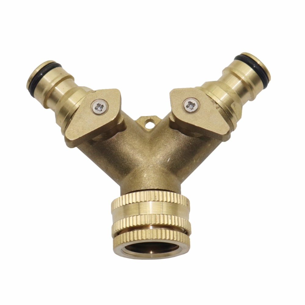 "Splitter 2 Way Garden Irrigation Connector Tap Adaptor g 3//4/"" Brass Hose Pipe Y"