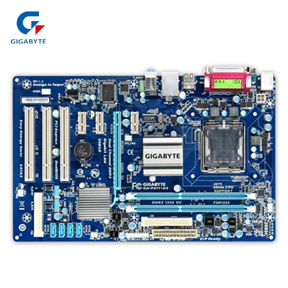 Gigabyte GA-P41T-D3 Desktop Motherboard P41T-D3 G41 LGA 775 DDR3 8G SATA2 USB2.0 ATX ga g41mt d3 775 pin integrated graphics card g41 motherboard ddr3