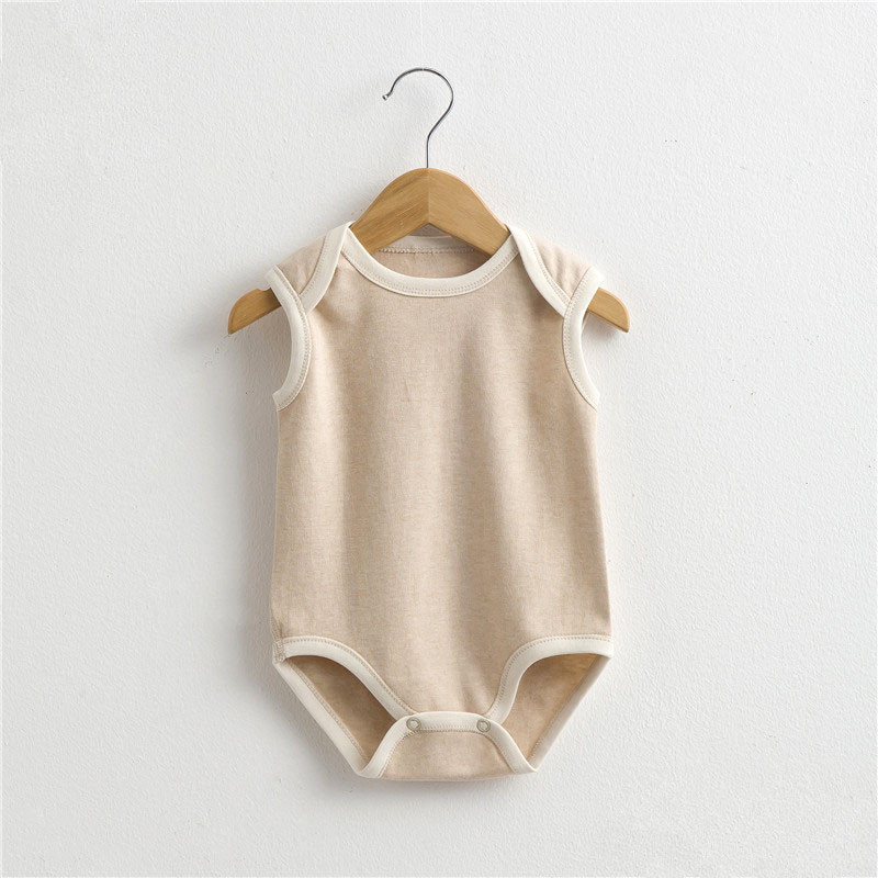 2017 Summer new Boy girl clothing natural Organic colored cotton baby infant jumpsuit sleeveless Newborn Rompers baby clothes mother nest 3sets lot wholesale autumn toddle girl long sleeve baby clothing one piece boys baby pajamas infant clothes rompers