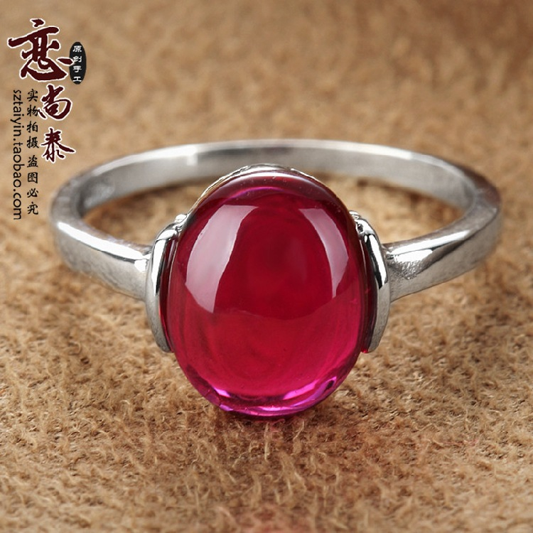 925 Sterling silver red corundum garnet ruby Retro ring Natural semi-precious stones rings Women jewelry accessories wholesale