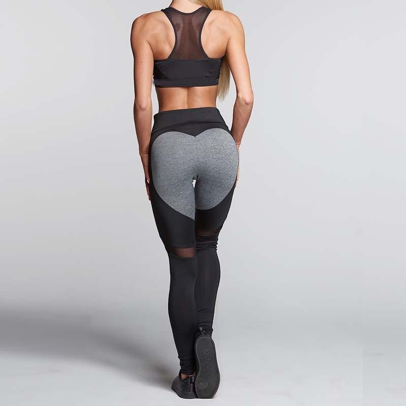 NORMOV Heart Pattern Mesh Splice Leggings Harajuku Athleisure Fitness Clothing Elastic Sporting Leggings Women Pants