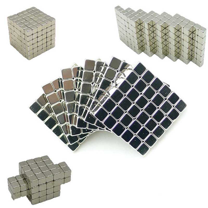 216PCS ,4mm Silver Neodymium Square Magnetic ,Model Building Kits Puzzle NeoKub OF Magnetic Beads With Metal Box