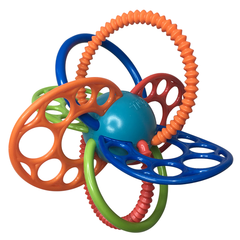 2018 нові дитячі іграшки teether барвисті дитини молярний м'яч дитини головоломки зуби м'яч гумки Baby Teethers м'яч 100% верхній добре