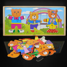 Children Classi Wood cartoon Bear Dressing Jigsaw change clothe toy Dress Changing wooden jigsaw puzzle Baby educational toygift