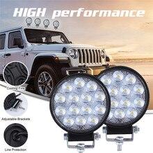 Luces Led الفقرة السيارات 2x LED ضوء العمل القرون 4 بوصة 140 واط بقعة مستديرة شعاع الطرق الوعرة عمود إنارة للقيادة LED مصابيح للسيارات