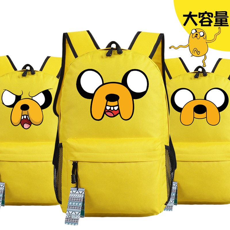 все цены на Anime Adventure Time Jake Emoji Printing Backpack Canvas Backpacks for Teenage Girls School Bags for Teenagers Mochila Feminina