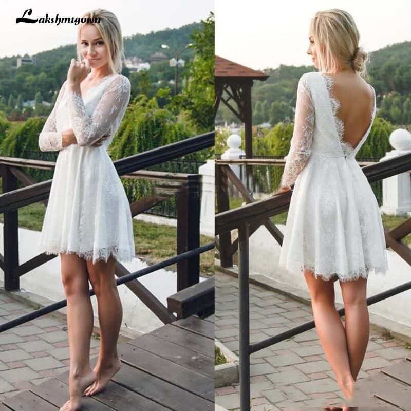Sexy Backless Short Beach Wedding Dresses A Line Full Lace Sheer Long Sleeve Summer Bohemian Boho