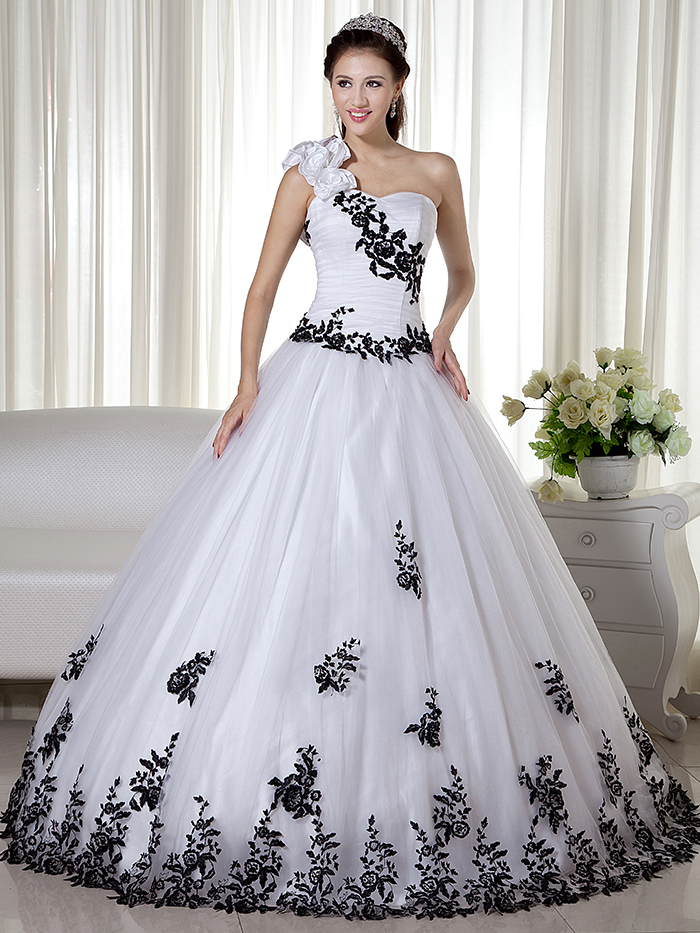 Top Vestidos De Novia Plus Size Black And White Tow Toned Vintage Ball Gown Wedding Dresses Princess One Shoulder Bridal Gowns With