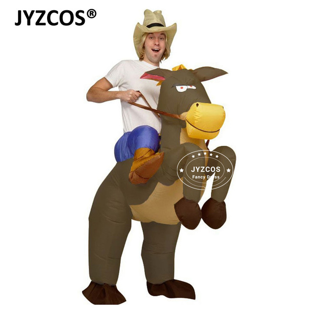Western Cowboy Horse Outfit funny Inflatable Costumes Halloween Carnival  Cosplay Cowgirl Rider Horse Adults Fancy Dress