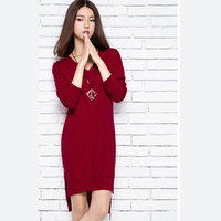 New Winter Sweater Size In The Long Section Of Loose Knit Dress Female Split Hair Dress