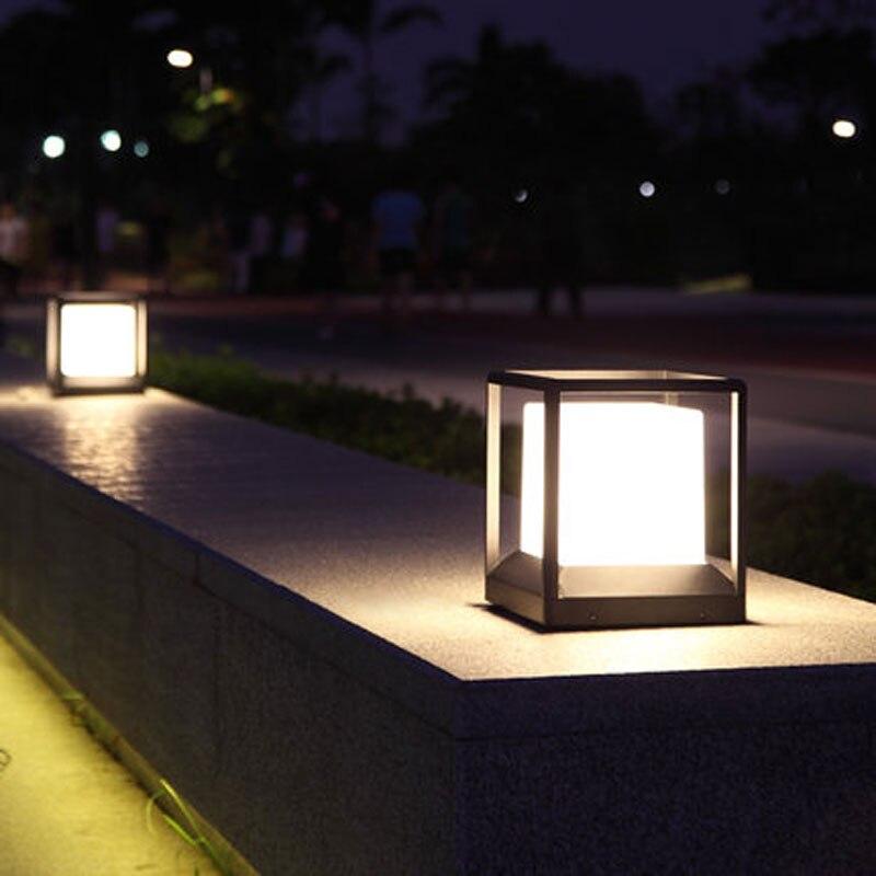 do jardim moderno aluminio pilar luz patio 03