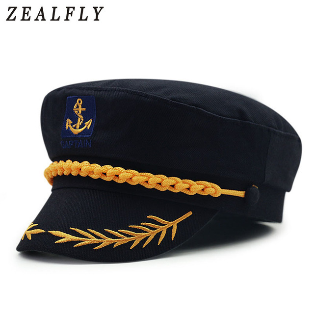 Captain Navy Olive Branch Military Hats Anchor Crew Cosplay Army Sailor Caps  For Men Women Black 22e2155c9a35