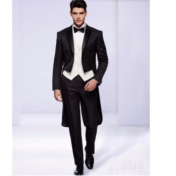 new Custom Made Black men suits Double Breasted groom suits Tailcoat Mens Wedding Prom Suits Groom Tuxedos jacket+vest+pants