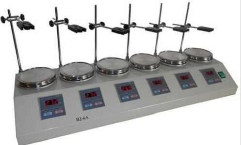 6 unit Digital display thermostatic control Lab magnetic stirrer mixer HJ-6A  RT.-100C 0-2400rpm  цены