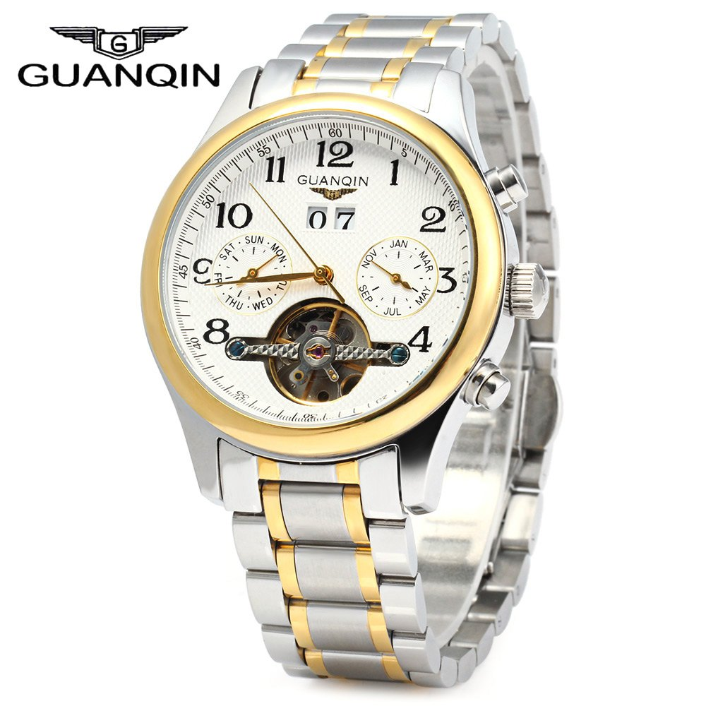 GUANQIN Men Calendar Tourbillon Mechanical Watch with Steel Band 10ATM Water Resistant Working Two Sub-dials Automatic Watch tevise 8378 men analog tourbillon automatic mechanical watch working sub dials stainless steel body