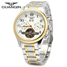 GUANQIN Men Calendar Tourbillon Mechanical Watch with Steel Band 10ATM Water Resistant Working Two Sub dials