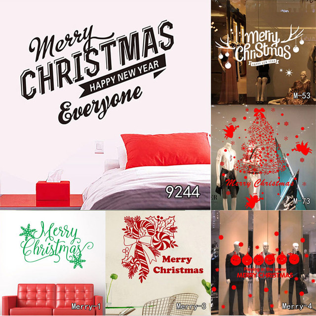 merry christmas wall quotes decal christmas decoration sticker diy home decor shop window wall xmas mural - Christmas Decoration Quotes