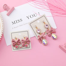 2018 New Sweet Trendy Girl Korean Cute Pink Fabric Bowknot Water Drop Long Stud Earrings for Fashion Women Jewelry Accessories(China)