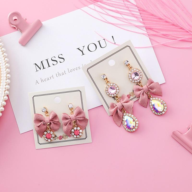 2018 New Sweet Trendy Girl Korean Cute Pink Fabric Bowknot Water Drop Long Stud Earrings for Fashion Women Jewelry Accessories