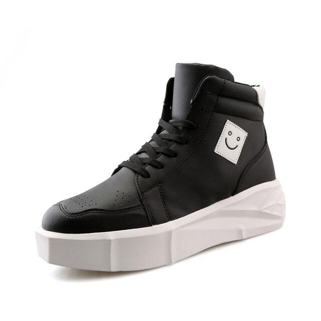 35299906a Mens sola grossa eleva aumentando botas meninos moda plataforma plana alta  top sapatos homem sorriso logo