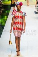 Женская одежда с принтом драгоценных камней жаккардовое атласное винтажное платье с О образным вырезом и рукавами лепестками ТРАПЕЦИЕВИДН