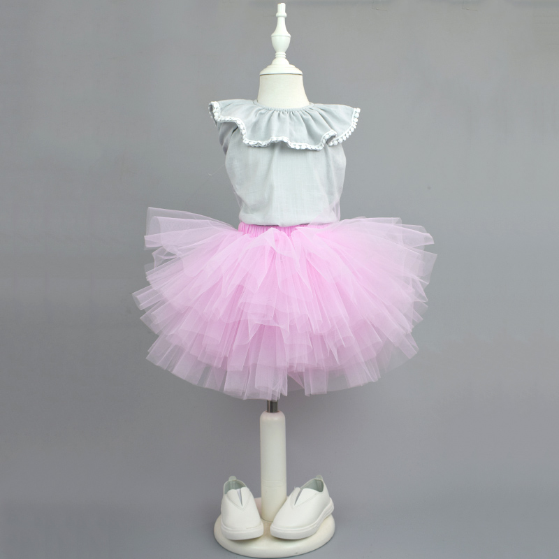 Super Sale Fluffy Skirt Girls 6 Layers Baby Girl Chiffon Tutu Skirts Tulle Falda Baby Pettiskirt Party Faldas Kids Cake Skirts