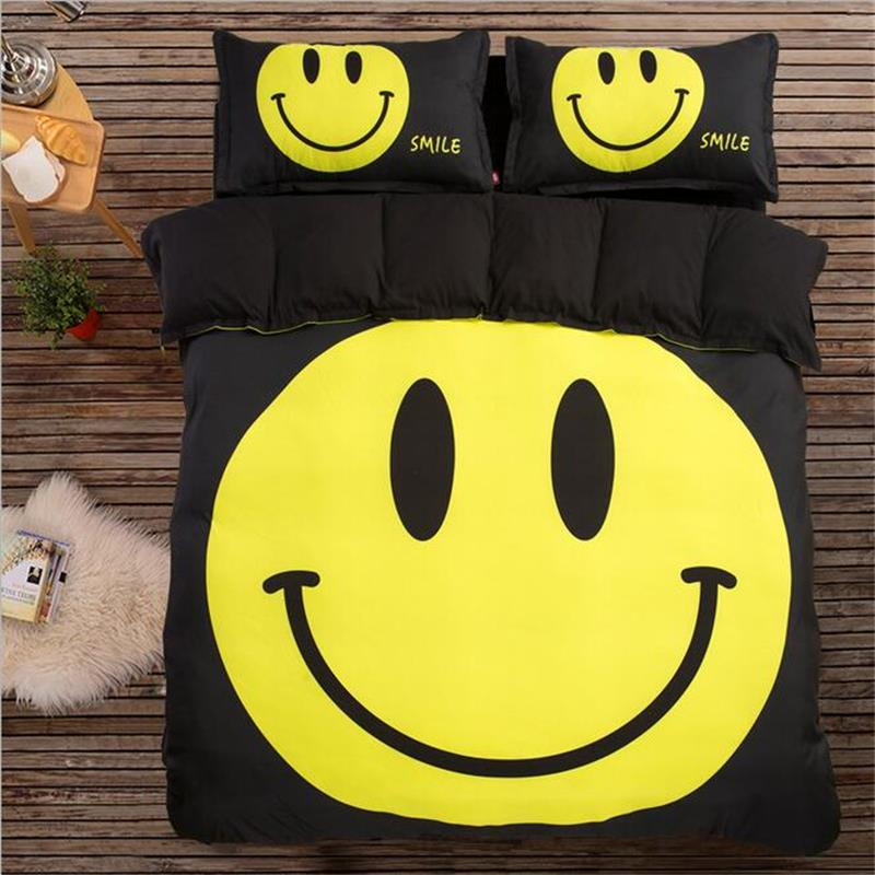 Cute Smile Emoji Bedding Set Twin Queen King Size Yellow and Black Duvet Cover Pillow Case Flat Sheet Polyester Fabric Textiles