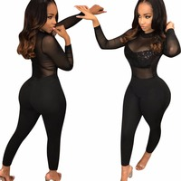 Sexy Mesh See Through Women Full Sleeve Women Bodysuits Hot Jumpsuits