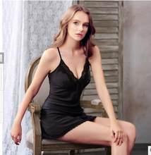 b7ea066db9a83 ... Ladies Sexy Silk Satin Night Dress Sleeveless Nighties V-neck Nightgown  Plus Size Nightdress Lace ...