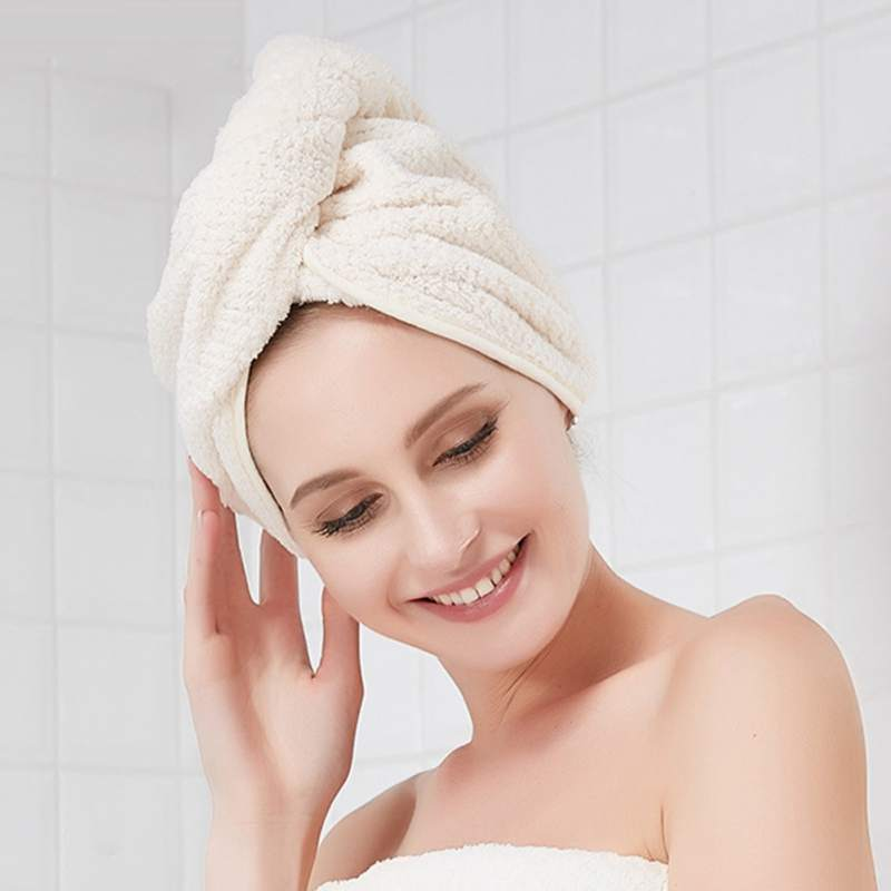 Women Soft Quick Dry Hair Towel Hat Turban Thicken Coral Velvet Towel Bath Beach Towels Bathroom Accessories Home Textile in Hair Towels from Home Garden