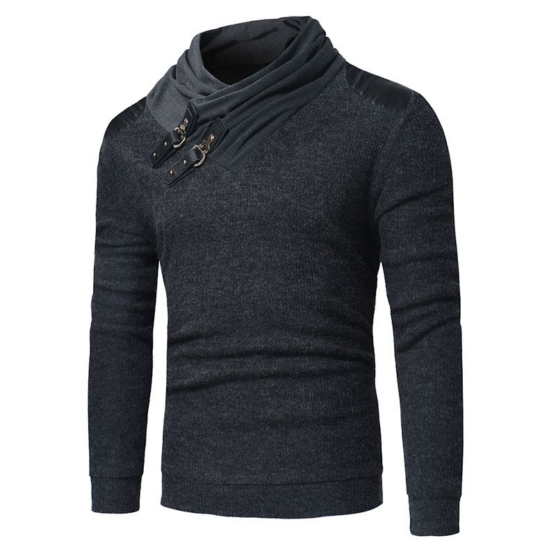 New Leather Buckle Decorative Solid Color Sweater Fashion Men Pile Collar Stitching Long Sleeve Slim Casual Top Clothes