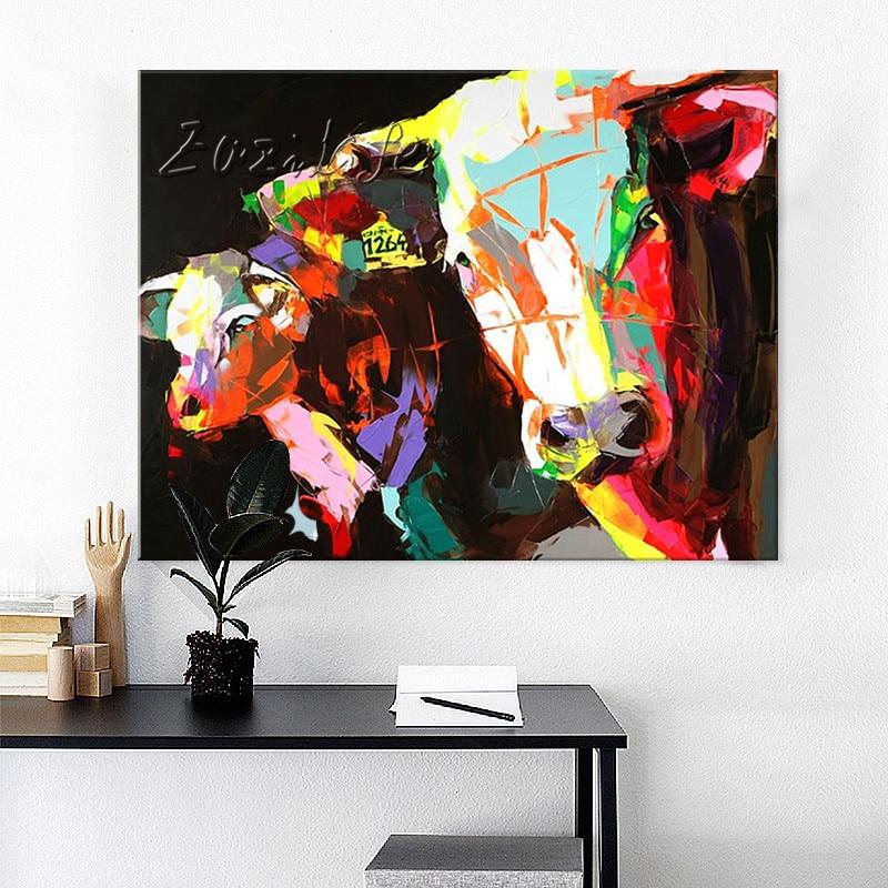 Peinture à l'huile sur toile photos murales peintures pour salon mur Art toile Pop art vache moderne abstrait peint à la main 17