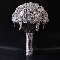 Диаметр 21 см роскошные Полный Кристалл Свадебный Букеты Свадебные Новый Дизайн Романтический искусственный ленты розы невесты Букет