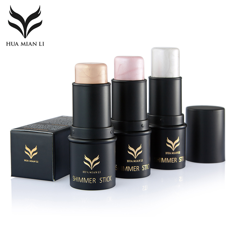 HUAMIANLI Brand Shimmer Shine Highlighter Foundation Stick Bronzer Contour Makeup Pen 3D ...