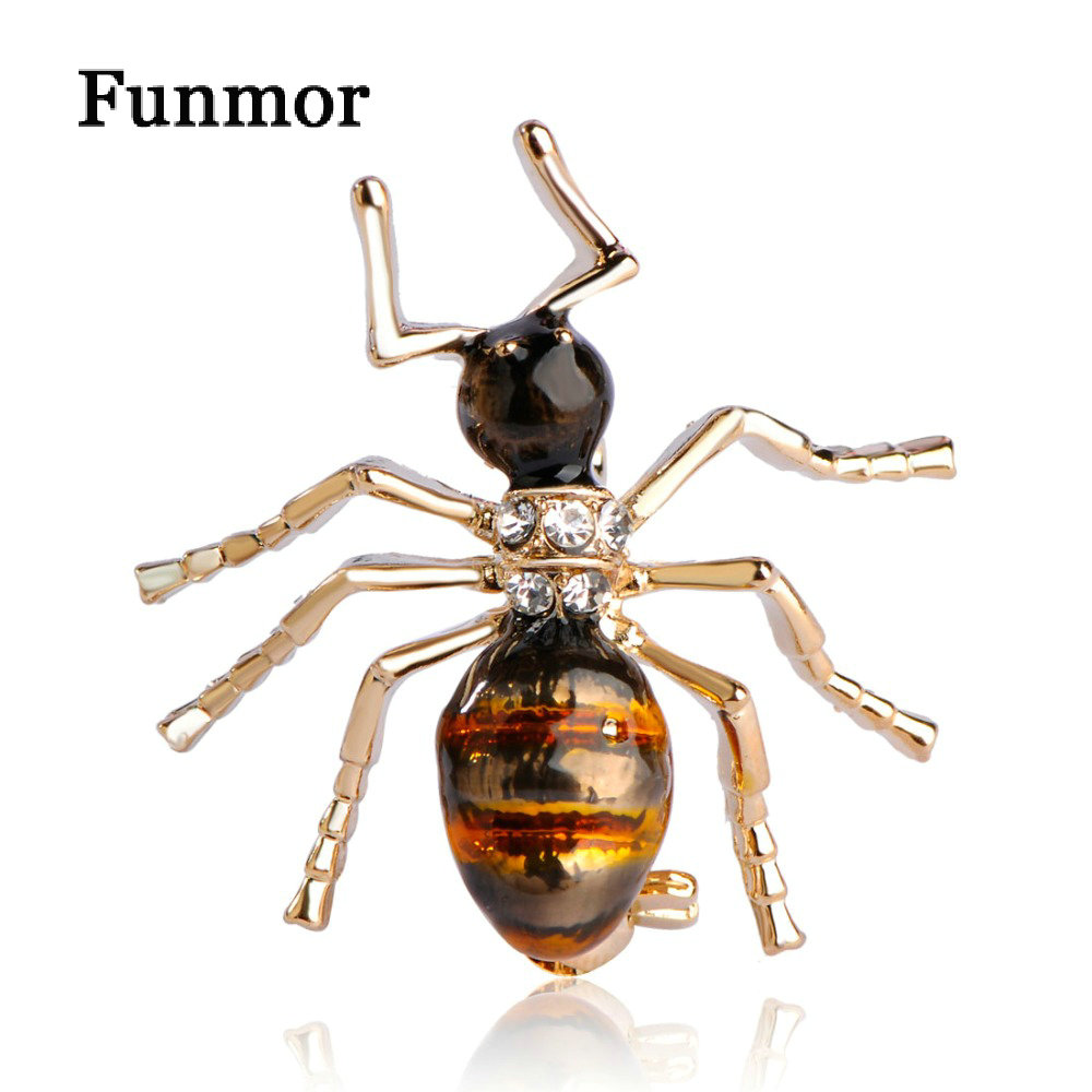 Funmor Enamel Little Ant Shape Brooches Gold-color Small Five Leg Insect Brooch Suit Sca ...