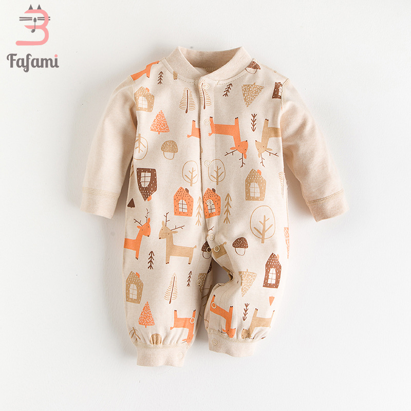 2018 Baby Romper Autumn Long Sleeves 100% Organic Cotton Comfortable Baby Pajamas Cartoon Printed Newborn Baby Boy Girl Clothes цена