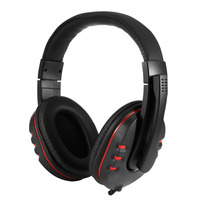 Adjustable Volume Control Leather USB Wired Stereo Bass Headphone Headset With Microphone For Sony For PS3