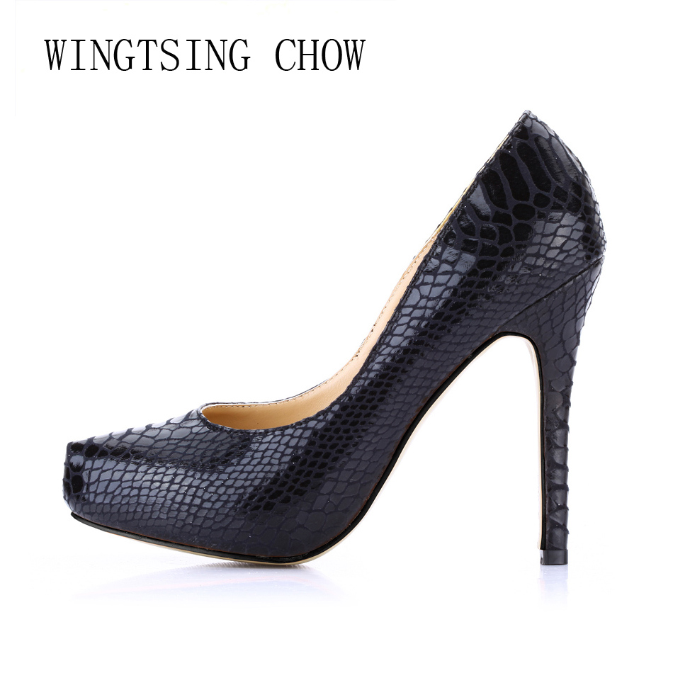 2016 New Black Snake Sexy Party Shoes Women Stiletto High Heels Concise Fashion Ladies Pumps Zapatos