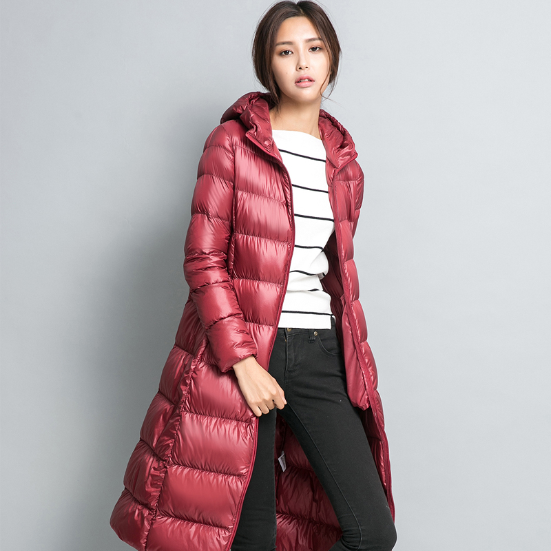 Women Winter   Down     Coat   Long Feather Jacket 2018 Women's Duck   Down   Jackets Light   Down   Hooded Winter Jacket Women Parka Warm Z1664