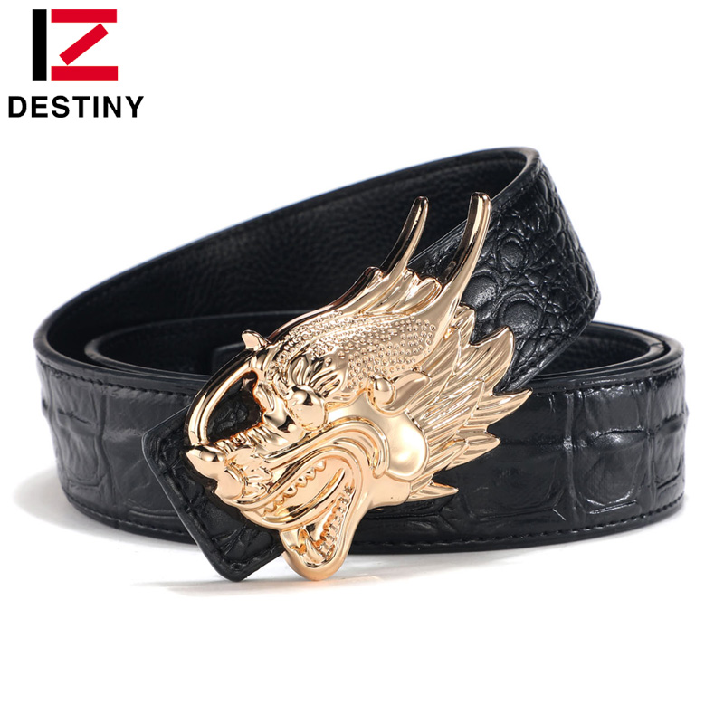 DESTINY Dragon Belt Men Famous Brand Designer Belts High Quality Male Genuine Leather Strap Luxury Wide New Fashion Cowskin Gold