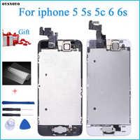 Écran LCD complet pour iPhone 5 s 6 s se 6 écran tactile numériseur remplacement avec bouton d'accueil caméra frontale LCD complet