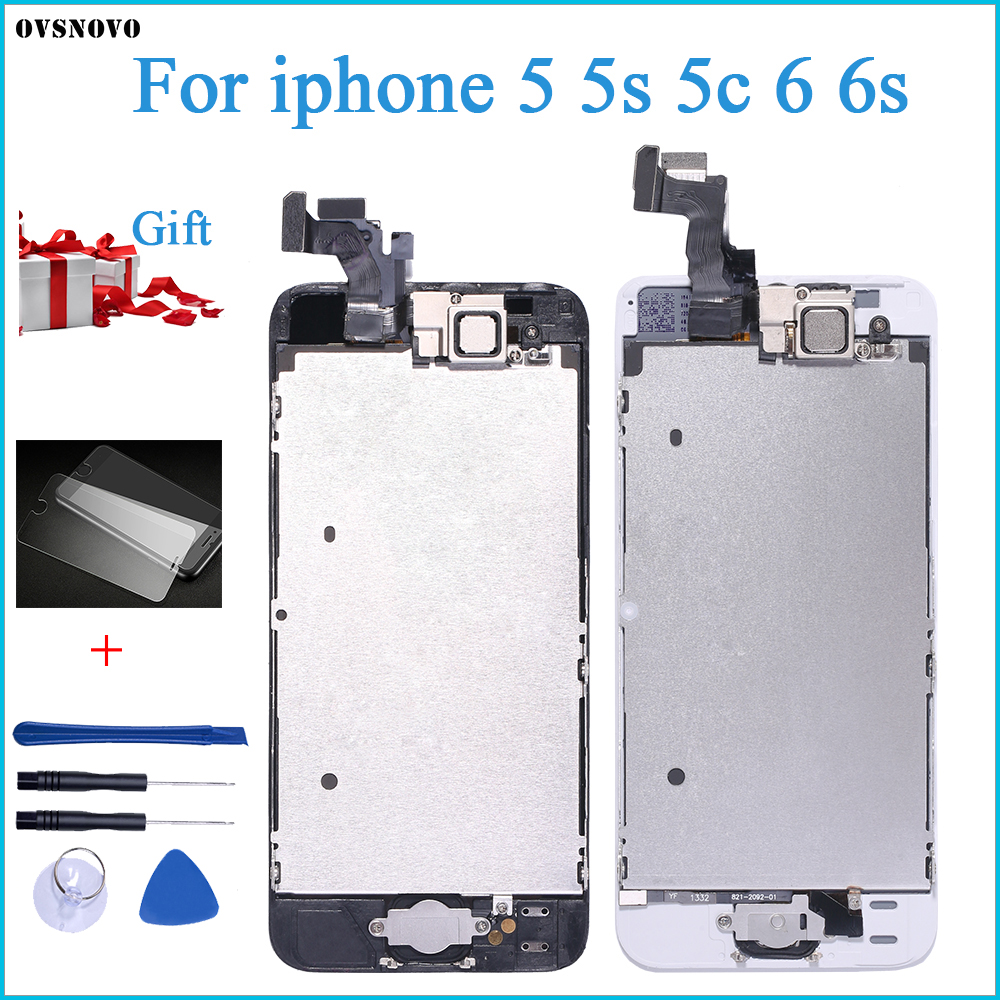 Full Assembly LCD Display for iPhone 5s 6s se 6 Touch Screen Digitizer Replacement with Home Button Front Camera Complete LCD image