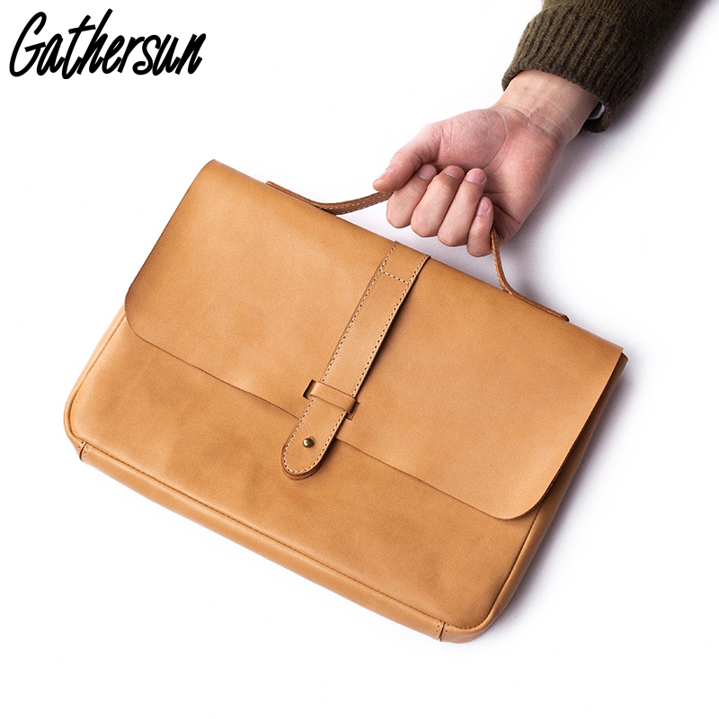 New Arrival Leather Briefcase Unisex 13.4 Inch Leather Case For Mackbook Pro Handmade Vintage Leather Laptop Bag Large Capacity