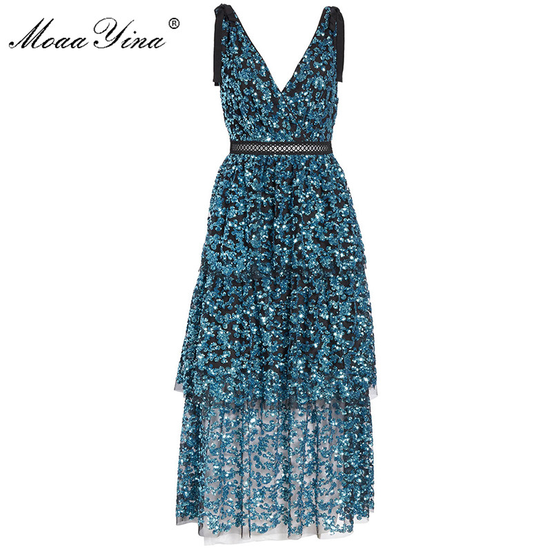 MoaaYina Fashion Designer 2019 new arrive Deep V Sequined Women Dress Party Dress Backless Sexy Midi Runway Dresses