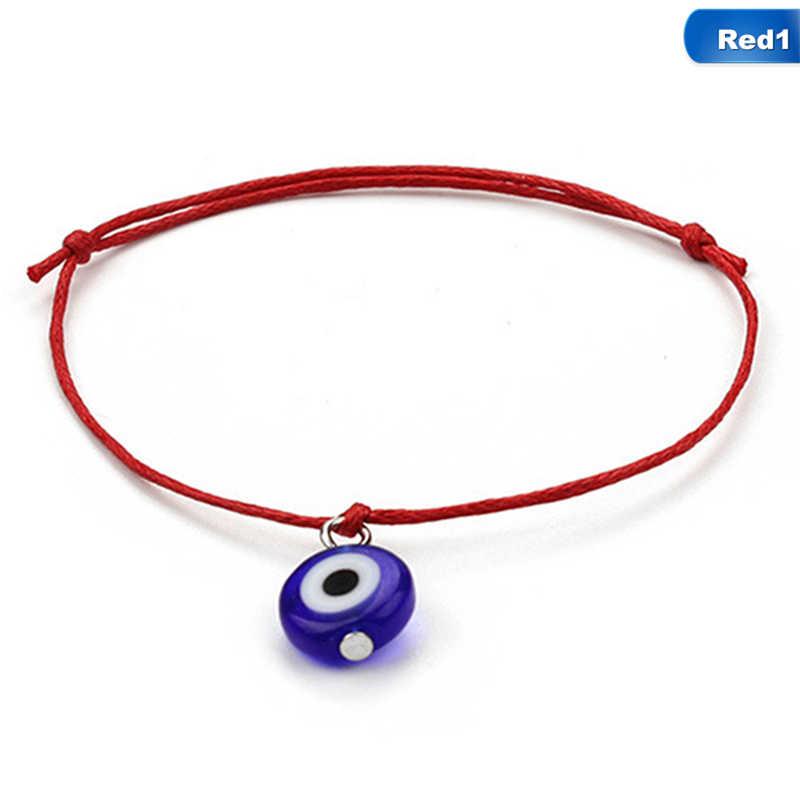 Fashion Thin Black Red Thread Evil Eye Bracelet String Rope Braided Bangles For Women Men Adjustable Length Good Lucky Jewelry