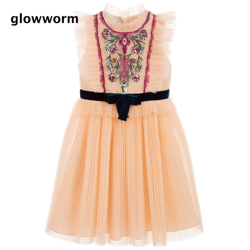 GlowwormKids Runway Summer Girls Dress Sequin Mmbroidery Rose Flower Lace Bow Tie Party Birthday Tutu Dress Girls Clothes 2-8T