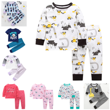 0-24M NewBorn Baby Clothes 2pcs Set Long Sleeve Cartoon Animals Print Tshirt Pant Legging Boy Newborn Girl Bodysuit