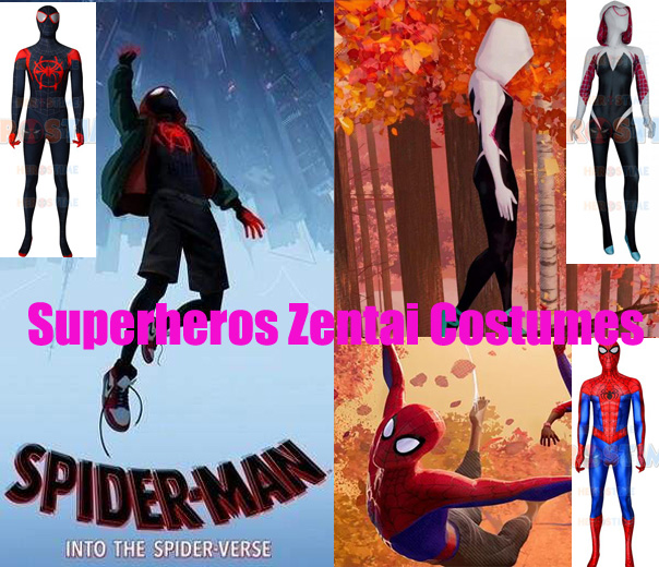 Spider-Man: Into the Spider-Verse Cosplay Costumes High Quality 3D Gwen Stacy Miles Morales Spiderman Spidey Suit with Lenses