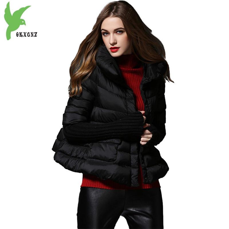 Winter   down   jacket women cloak Pregnant woman clothes Knit sleeve Splice warm short tops Plus size female A-line   down     coats   2156
