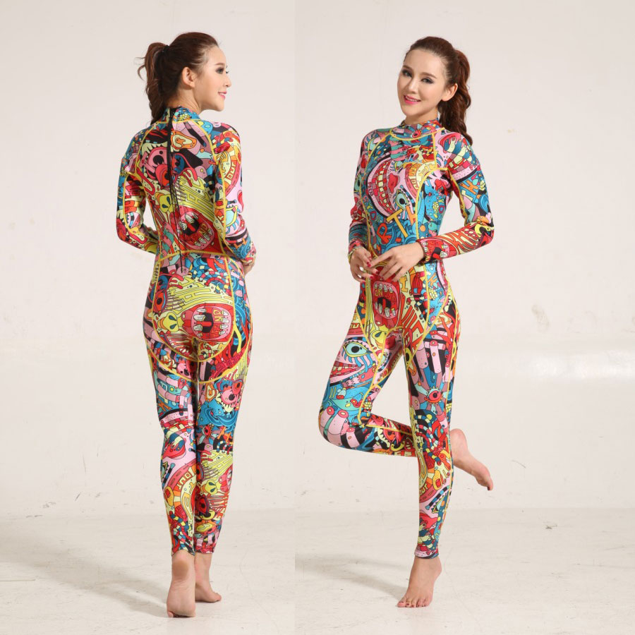 Women's Full Wetsuit 3mm Premium Neoprene Floriated Wet Suit XS S M L XL XXL